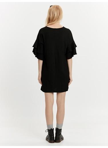 LC Waikiki Kolları Volanlı Mini Elbise Siyah